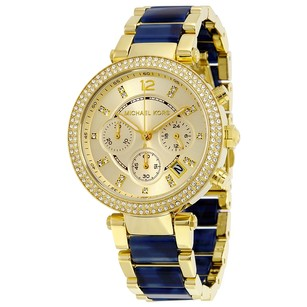 Michael Kors Parker Champagne Dial Gold-plated and Blue Ladies Watch