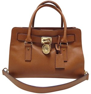 Michael Kors Hamilton East West Leather Gold Chain Satchel in Brown