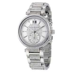 Michael Kors Sawyer Silver Crystal Pave Dial Stainless Steel Ladies Watch MK6281