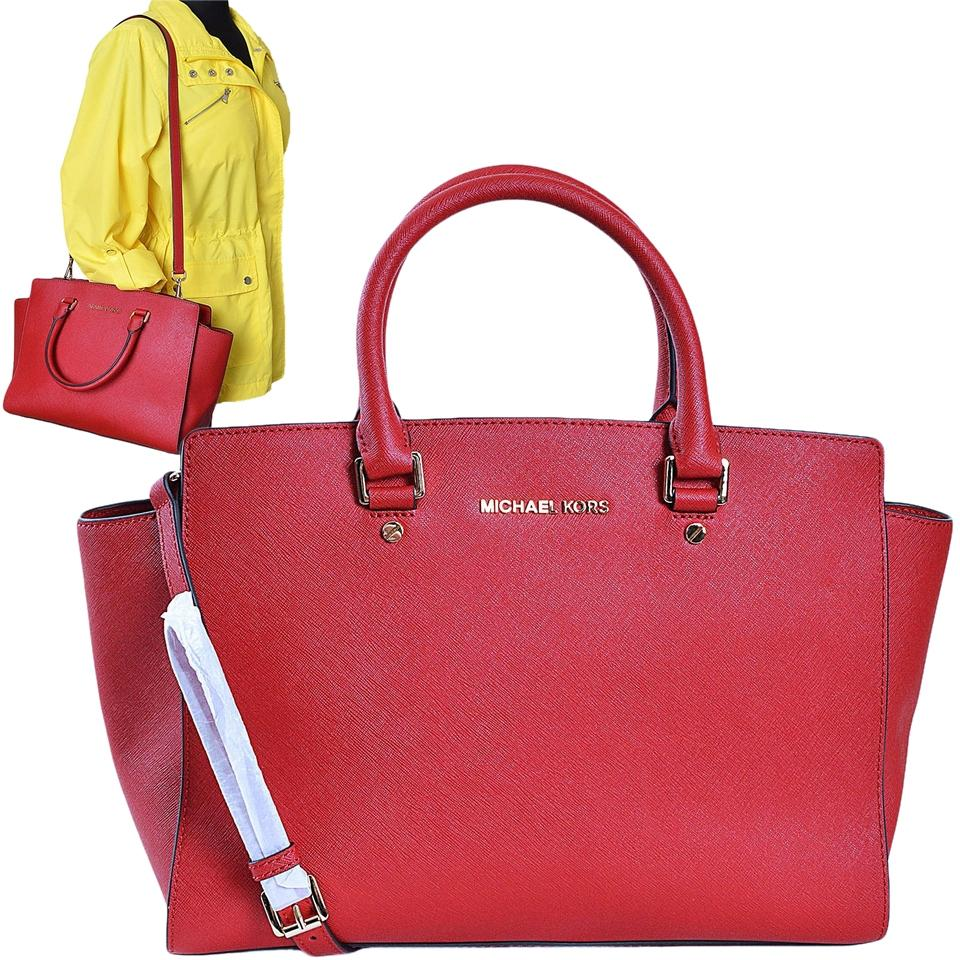 391edc25211534 sale michael kors saffiano leather medium travel tote chili cf72d c499d;  sweden michael kors 30s3glms7l shoulder mk large satchel in chili red d8661  a97bd