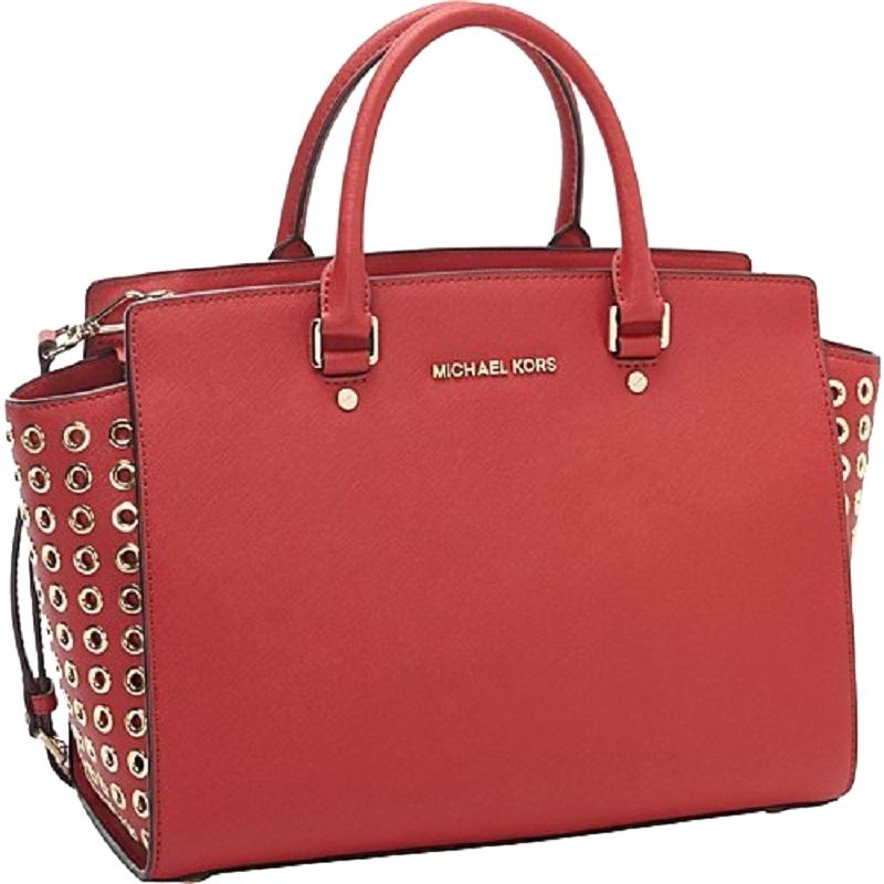 454c1c23543083 discount michael kors tote convertible cross body gold studded satchel in  red f3a2b 47811