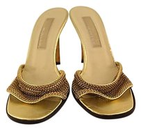 Michael Kors Womens Slip On Chain Stiletto Gold Sandals