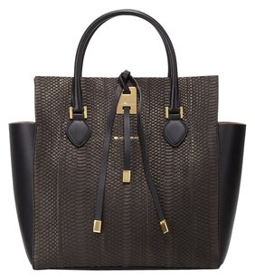 Michael Kors Snakeskin Leather Face Tote in black