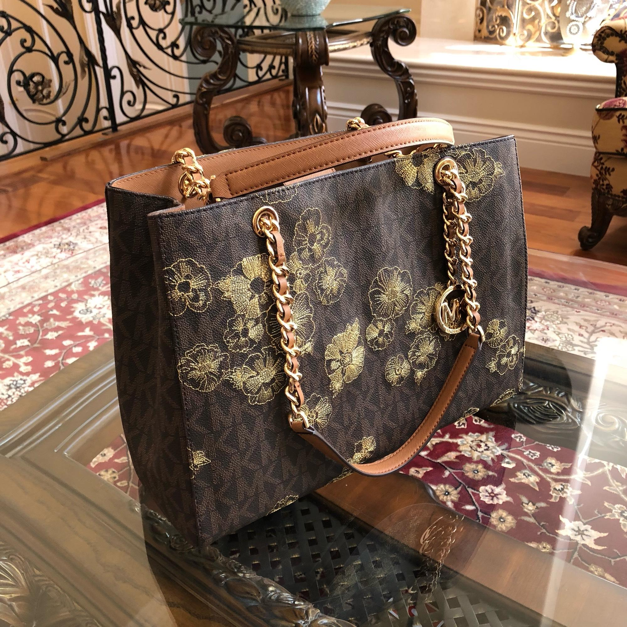 5d863570d2c5 ... shopping michael kors signature monogram chain satchel floral  embroidery tote in brown. 123456789101112 05bf8 eeeba ...