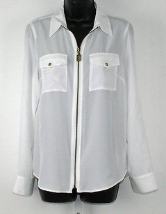 Michael Kors Brass Zip Front Tab Sleeve Shirt B246 Top White
