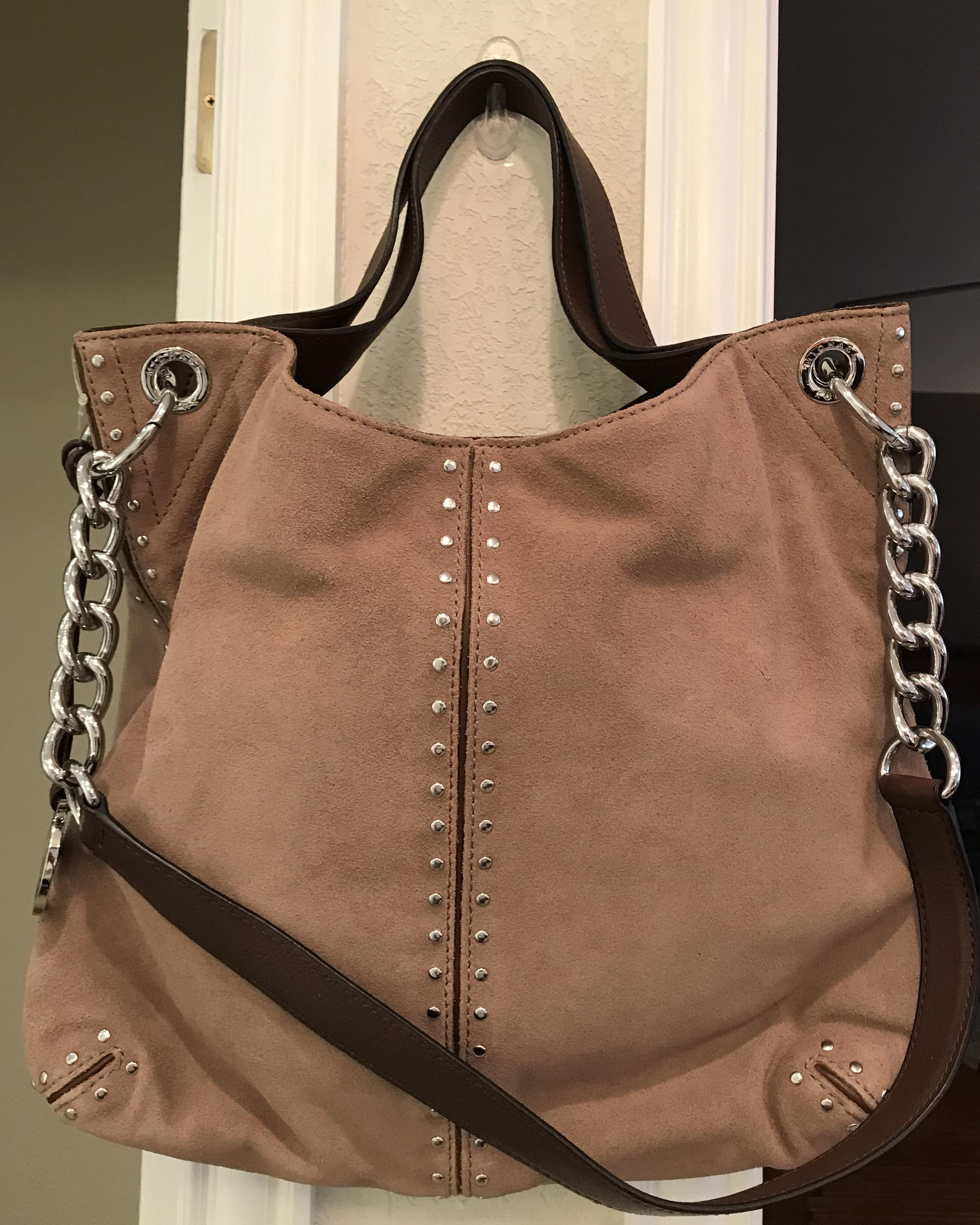 f48f6d6b42a5f2 coupon for michael kors shoulder chain studs stud tote in rare dusk dune  khaki brown.