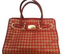 Michael Kors Vintage Leather Satchel in Red with Gold combination
