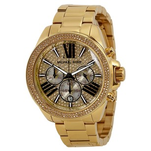 Michael Kors Wren Chronograph Crystal Pave Dial Gold-plated Ladies Watch