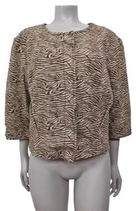 MICHAEL Michael Kors Brown Tan Wild Animal Print Cotton Cropped Tan-brown Jacket