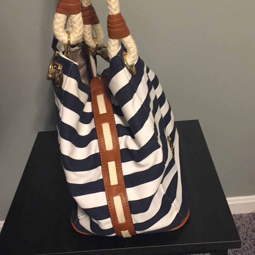 0800bdca9a6e ... best price michael michael kors marina anchor navy and white striped  canvas leather shoulder bag tradesy