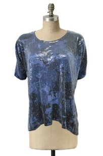 MICHAEL Michael Kors Blue Short Sleeves Sequin Scoop Neck Top Blue Navy