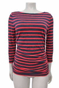 MICHAEL Michael Kors Stripe Tee With Ruched Zip Side Boat Neck Top Red-Navy