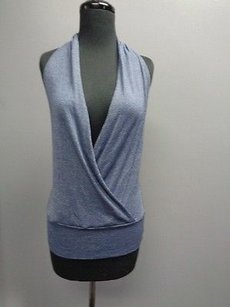 Michael Stars Stretchy Neck Casual O Sma7373 Blue Halter Top
