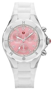 Michele MICHELE NEW Tahitian MWW12F000081 Jelly Bean White Silicone Pink Topaz Silver Ladies Watch