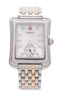 Michele Michele Two-tone Stainless Steel Diamond Deco Moderne Ii Womens Watch