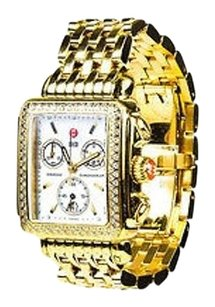 Michele Michele Gold Plated Stainless Steel Diamond Deco Chronograph Watch