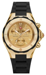 Michele MWW12F000034 Michele Women's Jelly Bean Chrono Gold Plated Black Silicon Watch