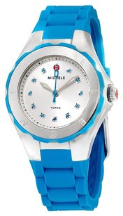 Michele Tahitian Jelly Bean Silver Dial Turquoise Silicone Ladies Watch