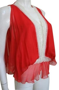Miguelina Silk Chiffon Top Red and White