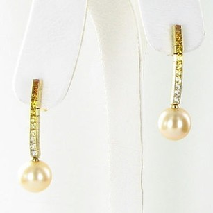 Mikimoto Mikimoto Earrings 10mm Golden South Sea Pearls Yellow Sapphires 18k Yg
