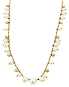Mikimoto Mikimoto Elegant 18k Yellow Gold Graduated Pearls Bead Link Necklace