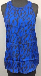 MILLY Cobalt Black Scribble Pattern Silk Sleeveless Shell 931a Top Blue