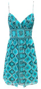 MILLY short dress Teal, White Flowy Print Empire Waist Summer on Tradesy