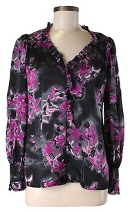 MILLY Silk Floral Watercolor Top
