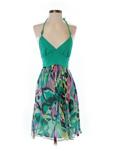 MILLY short dress Silk Print Halter Sweetheart on Tradesy