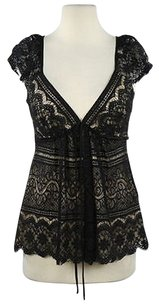 MILLY Womens Floral Top Black