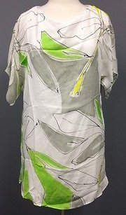 MILLY short dress Yellow White Green Floral Silk Dolman Sleeve Lined 1021a on Tradesy