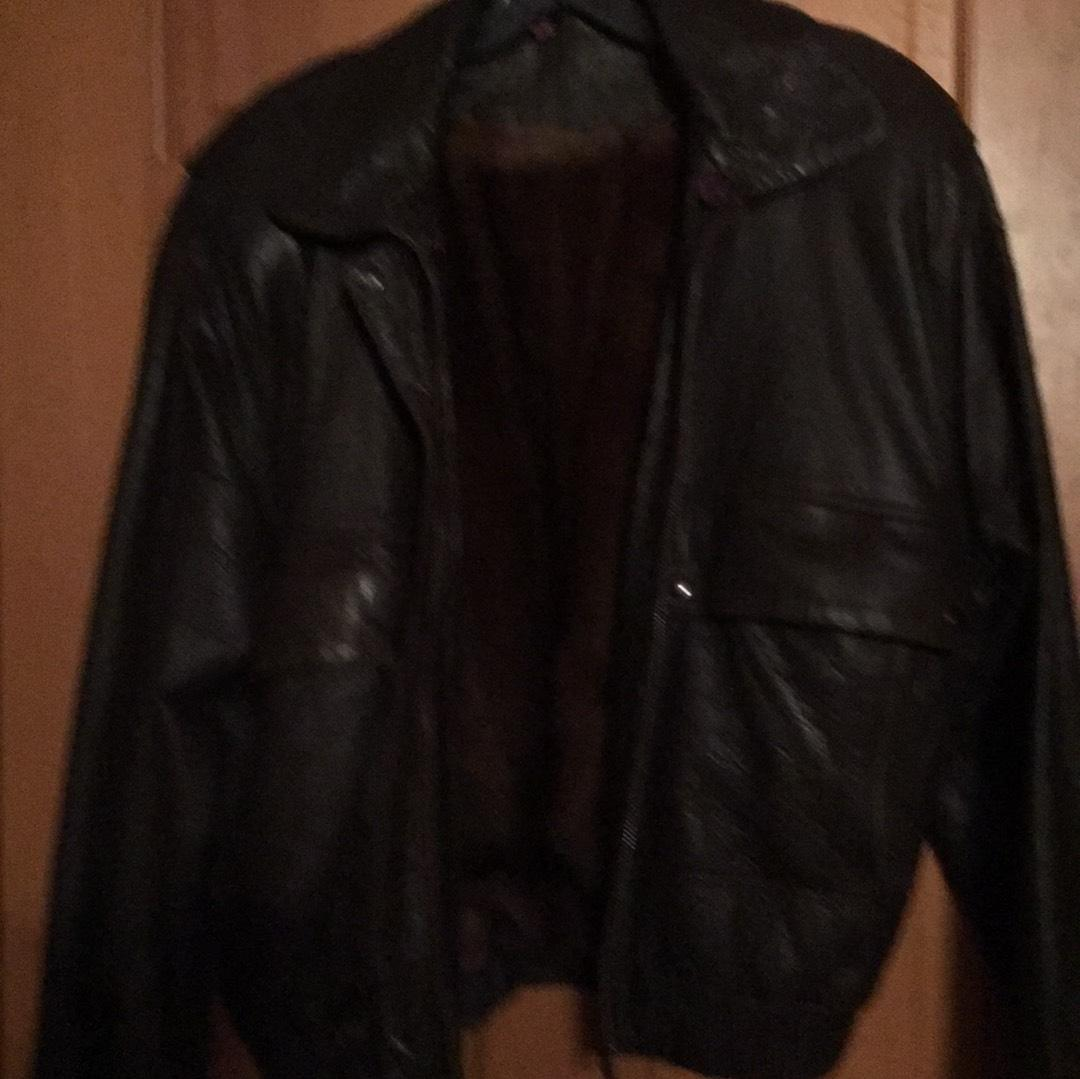 Brown Leather bomber jacket lined with mink