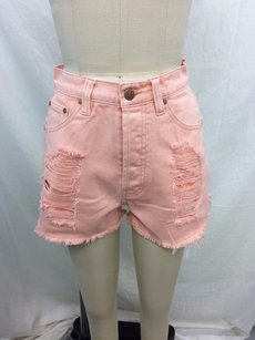MINKPINK Pink Almost Famous Slasher Cut Off Shorts Blush