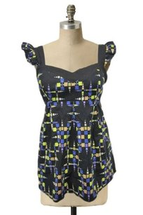 MINKPINK Black Colorful Sleeveless Blouse Abstract Design Tunic