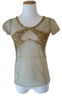 Miss Sixty Embellished Sheer Mesh Top Mint
