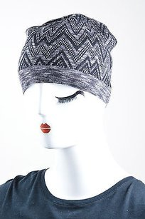 Missoni Missoni Black Gray Wool Zig Zag Knit Cold Weather Beanie Cap Hat