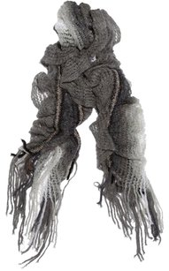 Missoni MissoniGray Loose Knit Ombre Fringe Mohair Oversized Ruffle Flutter Shawl Scarf