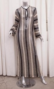 Missoni short dress Multi-Color Womens Blackcream Cotton Linen Striped Knit Kaftan Maxi Long on Tradesy