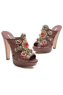 Miu Miu Leather Jewel Embellished Platform Size Brown Mules