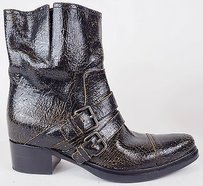 Miu Miu Crackle Baggy Patent Leather Ankle Black / Brown Boots