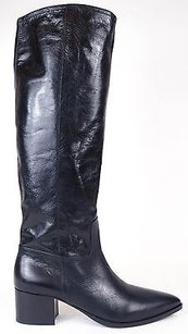 Miu Miu Leather Pointy Toe Zip Up Knee High Eu Black Boots