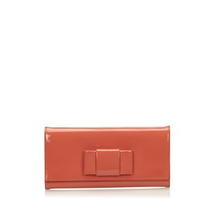 Miu Miu Leather,long Wallets,orange,patent Leather,6ammco001