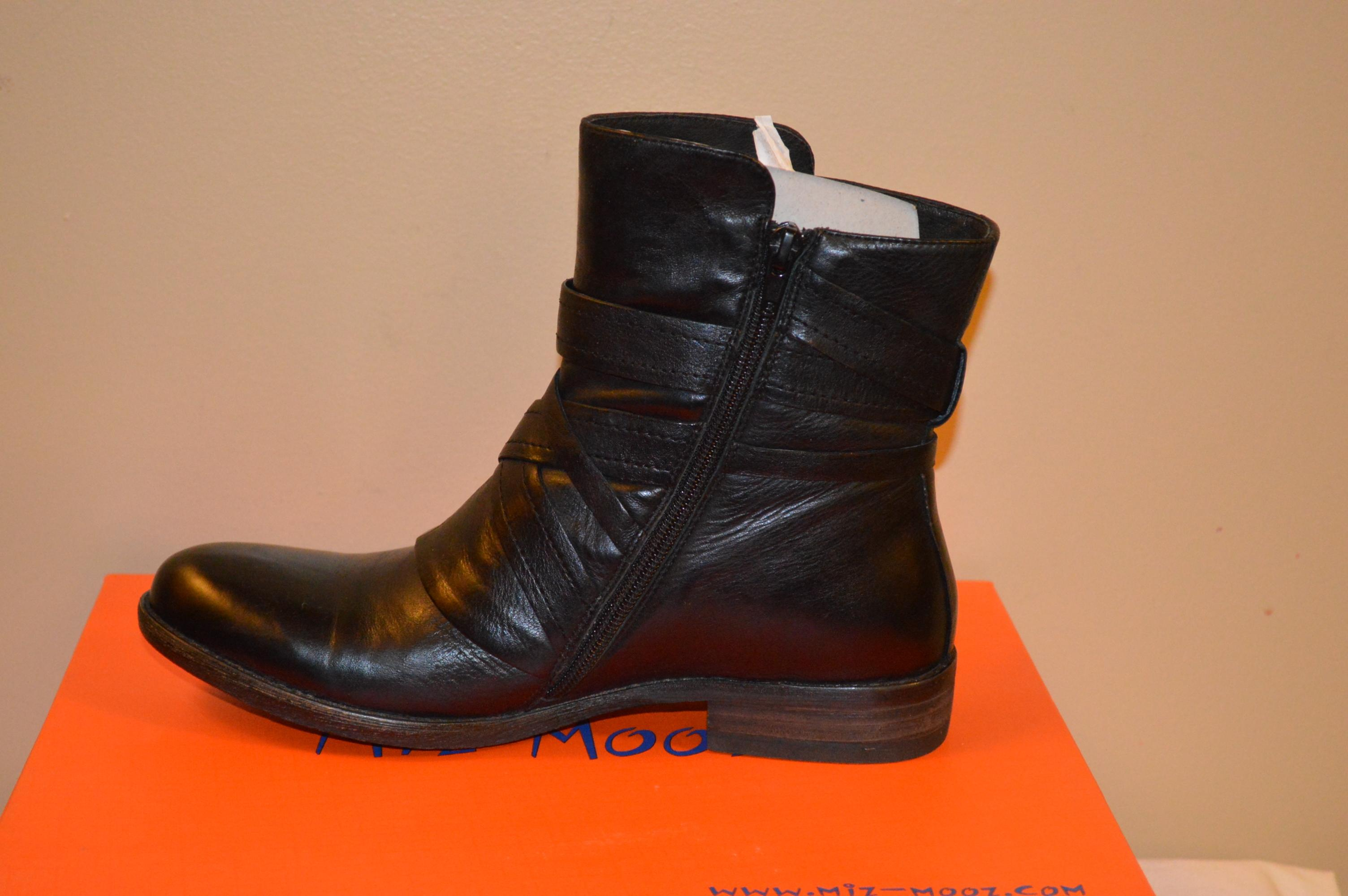 Miz Mooz Bailey Black Leather Ankle Boots/Booties