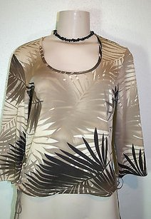 Moda International Brown Leaf Print Lace Up Side Tie 34 Sleeve Top Beige
