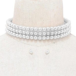 Modern Edge 3-Row metal ball choker necklace