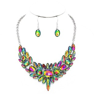 Modern Edge Marquise crystal rhinestone statement evening necklace Set