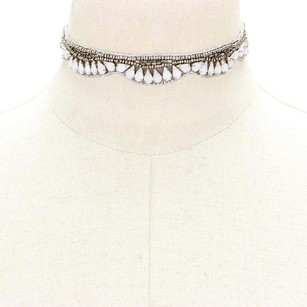 Modern Edge Opal embellished beaded fabric choker necklace