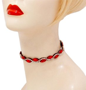 Modern Edge Red crystal rhinestone wave marquise choker necklace