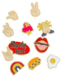 Modern Edge Rock on 10pcs mixed enamel finger sign & fried egg brooch set
