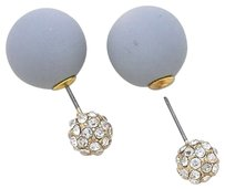 Modern Gems Peek A Boo Double Sided Grey Crystal Stud Earrings